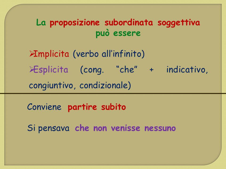 """La proposizione subordinata soggettiva può essere  Implicita (verbo all'infinito)  Esplicita (cong. """"che"""" + indicativo, congiuntivo, condizionale) C"""