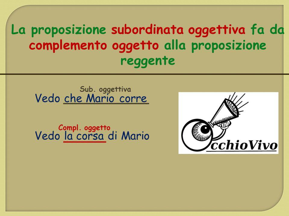 La proposizione subordinata oggettiva fa da complemento oggetto alla proposizione reggente Vedo che Mario corre Vedo la corsa di Mario Sub. oggettiva