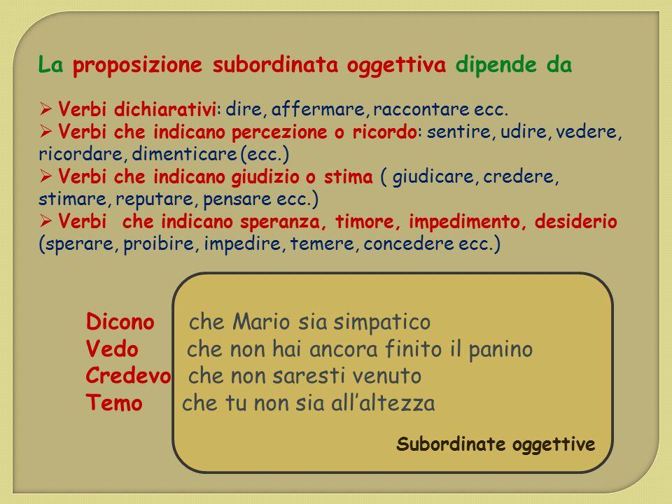 La proposizione subordinata oggettiva dipende da  Verbi dichiarativi: dire, affermare, raccontare ecc.  Verbi che indicano percezione o ricordo: sen