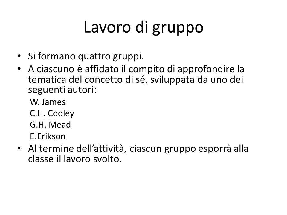 Lavoro di gruppo Si formano quattro gruppi.