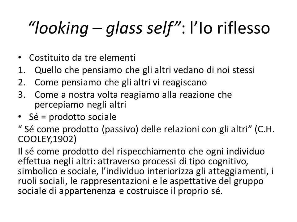 looking – glass self : l'Io riflesso Costituito da tre elementi 1.Quello che pensiamo che gli altri vedano di noi stessi 2.Come pensiamo che gli altri vi reagiscano 3.Come a nostra volta reagiamo alla reazione che percepiamo negli altri Sé = prodotto sociale Sé come prodotto (passivo) delle relazioni con gli altri (C.H.