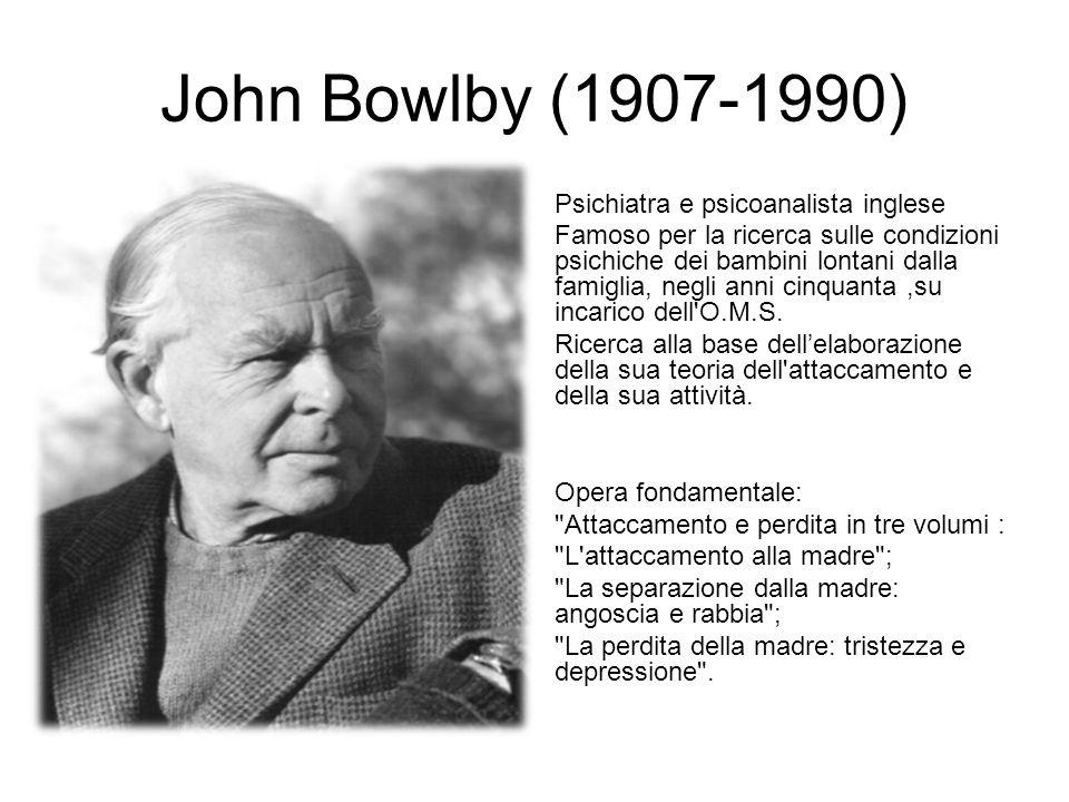 John Bowlby (1907-1990) Psichiatra e psicoanalista inglese Famoso per la ricerca sulle condizioni psichiche dei bambini lontani dalla famiglia, negli anni cinquanta,su incarico dell O.M.S.