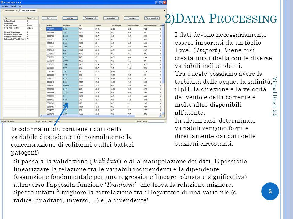 2)D ATA P ROCESSING 5 Virtual Beach 2.2 I dati devono necessariamente essere importati da un foglio Excel (' Import ').