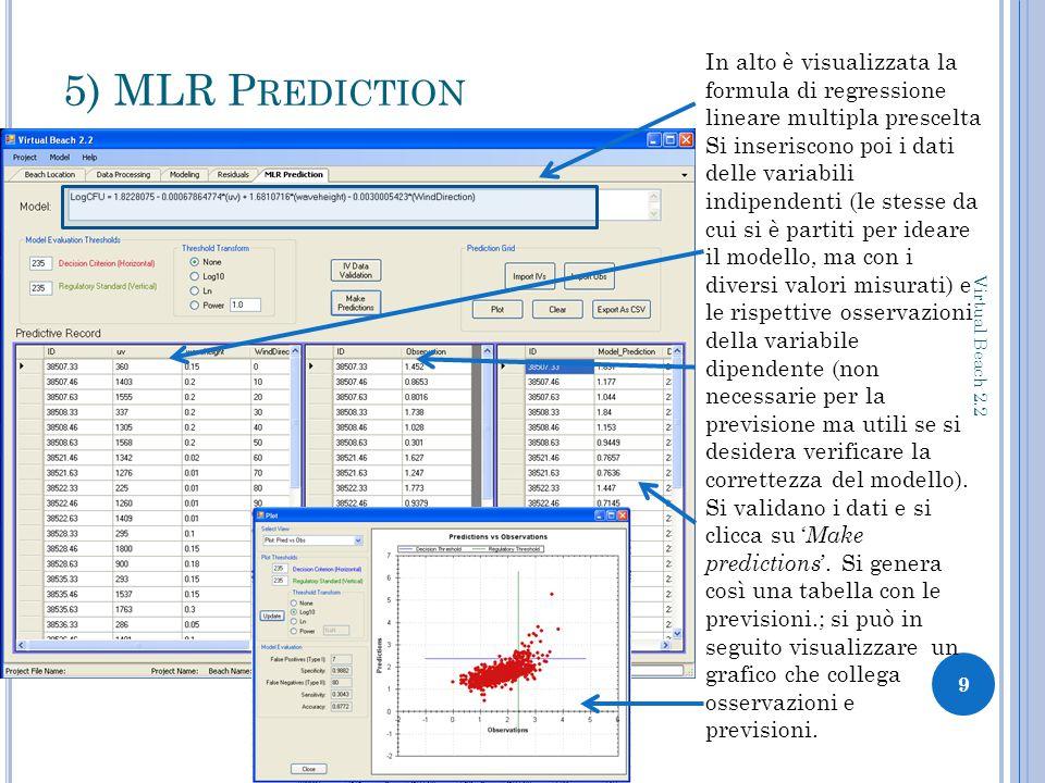 5) MLR P REDICTION 9 Virtual Beach 2.2 In alto è visualizzata la formula di regressione lineare multipla prescelta Si inseriscono poi i dati delle variabili indipendenti (le stesse da cui si è partiti per ideare il modello, ma con i diversi valori misurati) e le rispettive osservazioni della variabile dipendente (non necessarie per la previsione ma utili se si desidera verificare la correttezza del modello).