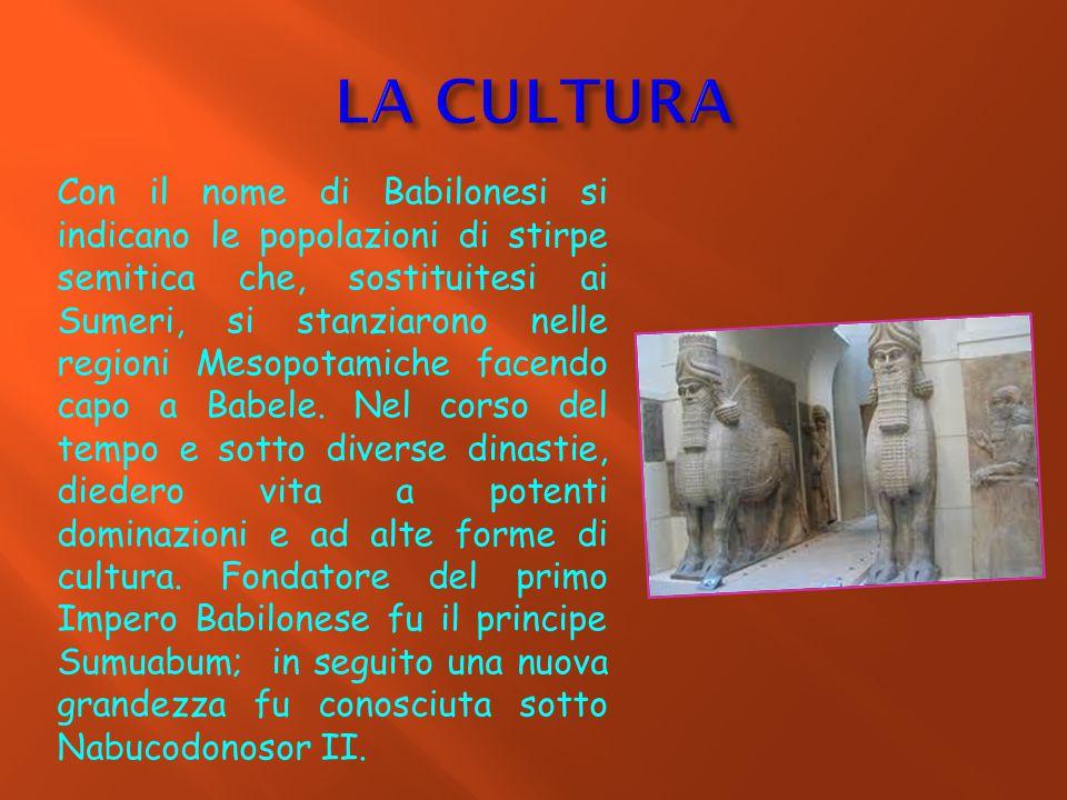 Con il nome di Babilonesi si indicano le popolazioni di stirpe semitica che, sostituitesi ai Sumeri, si stanziarono nelle regioni Mesopotamiche facend
