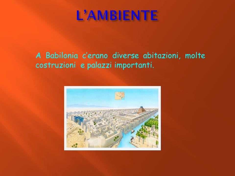 A Babilonia c'erano diverse abitazioni, molte costruzioni e palazzi importanti.