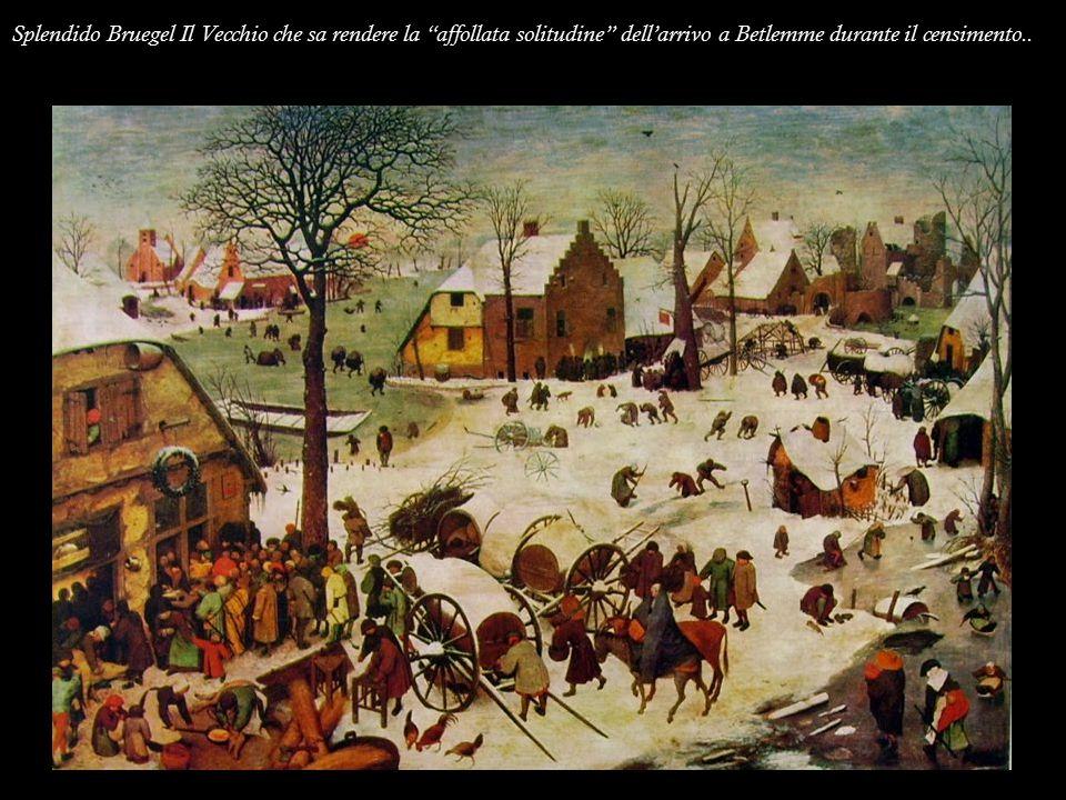 """Splendido Bruegel Il Vecchio che sa rendere la """"affollata solitudine"""" dell'arrivo a Betlemme durante il censimento.."""