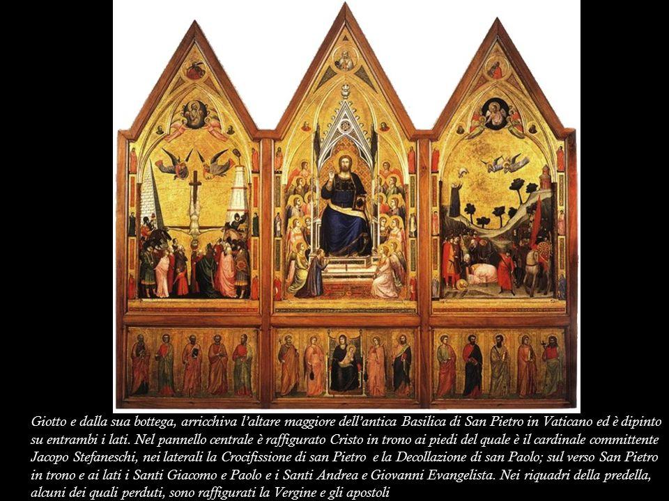 Giotto e dalla sua bottega, arricchiva l'altare maggiore dell'antica Basilica di San Pietro in Vaticano ed è dipinto su entrambi i lati. Nel pannello