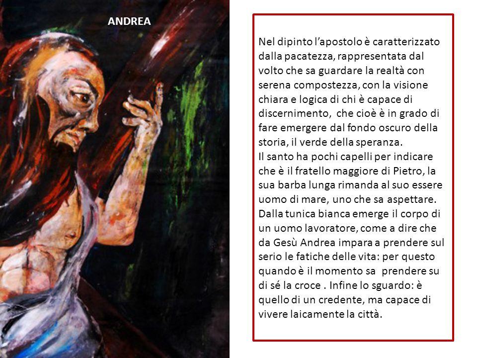 Nel dipinto l'apostolo è caratterizzato dalla pacatezza, rappresentata dal volto che sa guardare la realtà con serena compostezza, con la visione chia