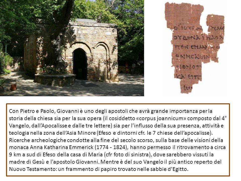 Con Pietro e Paolo, Giovanni è uno degli apostoli che avrà grande importanza per la storia della chiesa sia per la sua opera (il cosiddetto «corpus jo