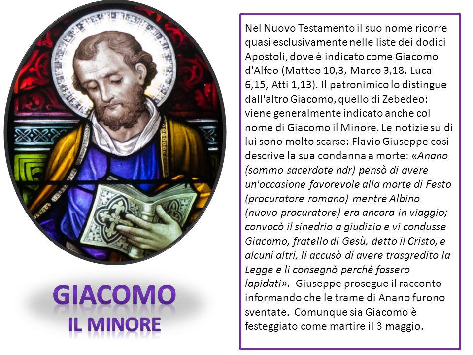 Nel Nuovo Testamento il suo nome ricorre quasi esclusivamente nelle liste dei dodici Apostoli, dove è indicato come Giacomo d'Alfeo (Matteo 10,3, Marc