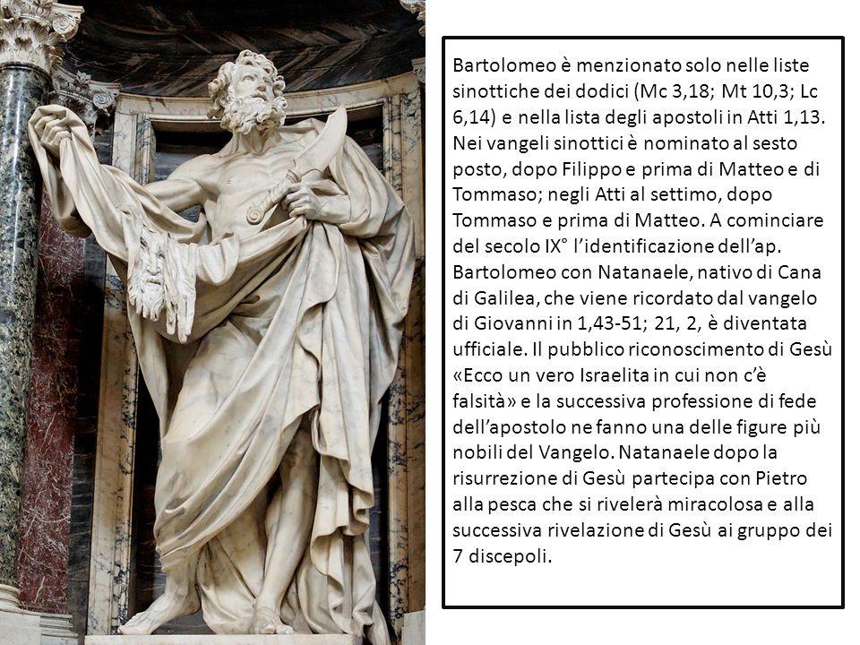 Bartolomeo è menzionato solo nelle liste sinottiche dei dodici (Mc 3,18; Mt 10,3; Lc 6,14) e nella lista degli apostoli in Atti 1,13. Nei vangeli sino