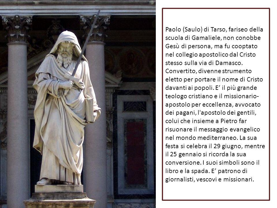 Paolo (Saulo) di Tarso, fariseo della scuola di Gamaliele, non conobbe Gesù di persona, ma fu cooptato nel collegio apostolico dal Cristo stesso sulla