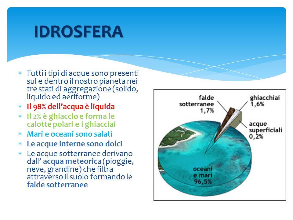 Tutti i tipi di acque sono presenti sul e dentro il nostro pianeta nei tre stati di aggregazione (solido, liquido ed aeriforme)  Il 98% dell'acqua è liquida  Il 2% è ghiaccio e forma le calotte polari e i ghiacciai  Mari e oceani sono salati  Le acque interne sono dolci  Le acque sotterranee derivano dall' acqua meteorica (pioggie, neve, grandine) che filtra attraverso il suolo formando le falde sotterranee IDROSFERA