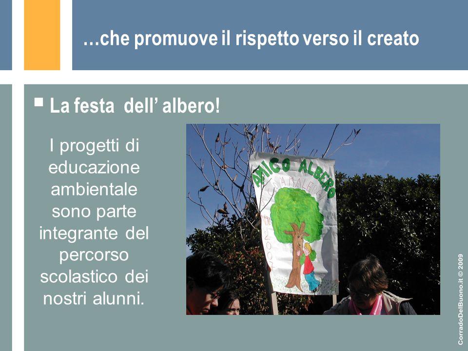 …che promuove il rispetto verso il creato  La festa dell' albero! I progetti di educazione ambientale sono parte integrante del percorso scolastico d