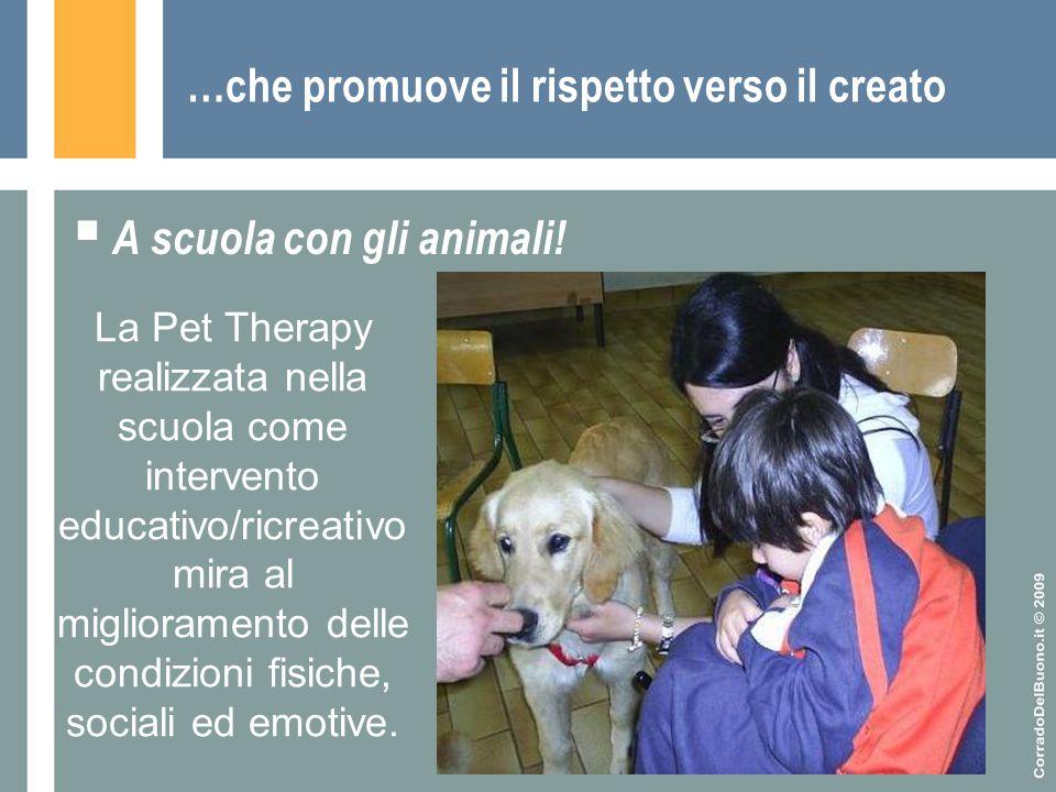 …che promuove il rispetto verso il creato  A scuola con gli animali! La Pet Therapy realizzata nella scuola come intervento educativo/ricreativo mira