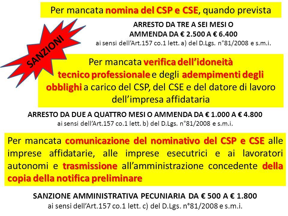 nomina del CSP e CSE Per mancata nomina del CSP e CSE, quando prevista ARRESTO DA DUE A QUATTRO MESI O AMMENDA DA € 1.000 A € 4.800 ai sensi dell'Art.157 co.1 lett.