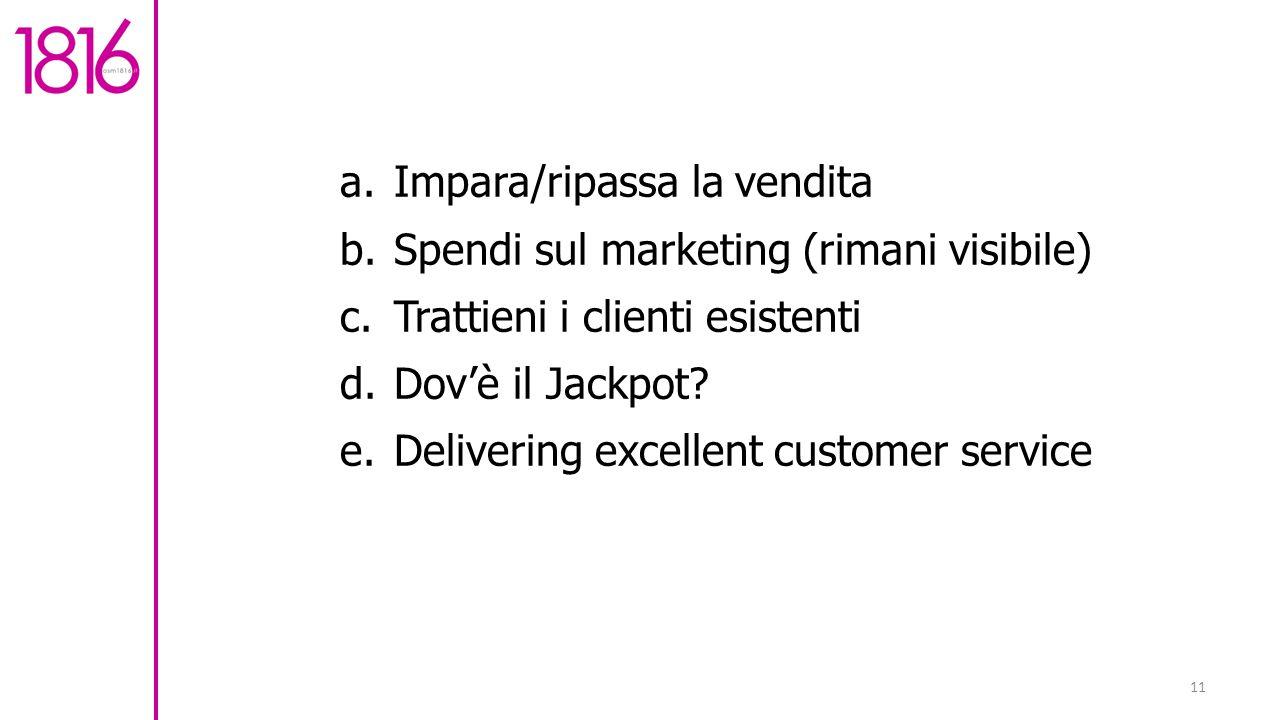 11 a.Impara/ripassa la vendita b.Spendi sul marketing (rimani visibile) c.Trattieni i clienti esistenti d.Dov'è il Jackpot.