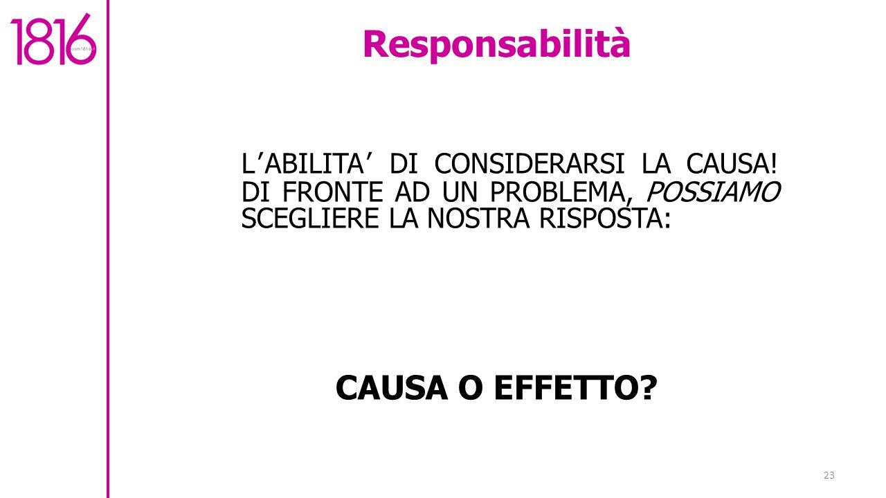23 Responsabilità L'ABILITA' DI CONSIDERARSI LA CAUSA.