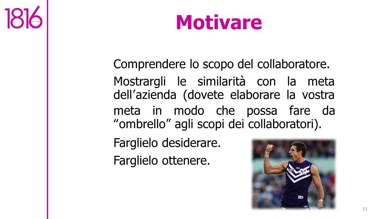 51 Motivare Comprendere lo scopo del collaboratore.