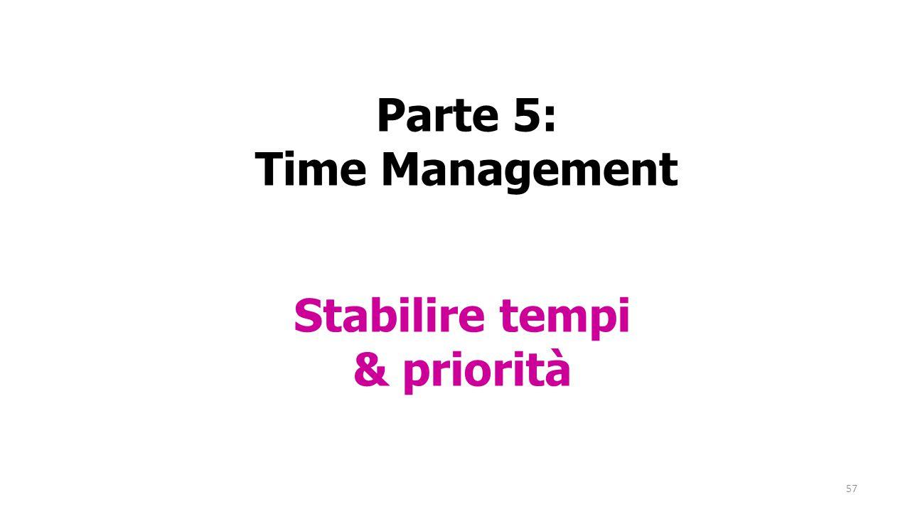 57 Parte 5: Time Management Stabilire tempi & priorità