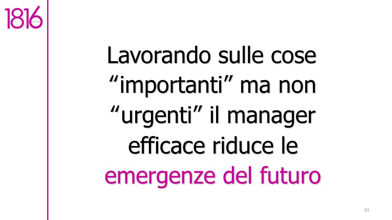 61 Lavorando sulle cose importanti ma non urgenti il manager efficace riduce le emergenze del futuro