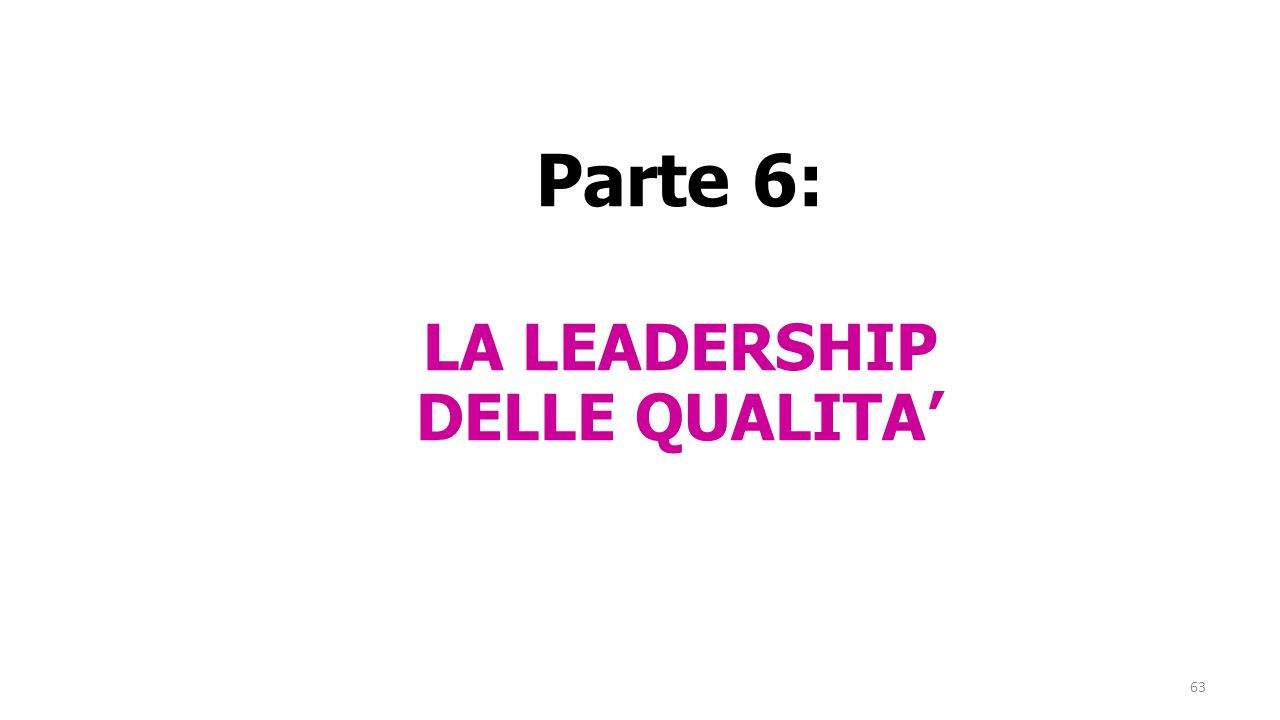 63 Parte 6: LA LEADERSHIP DELLE QUALITA'