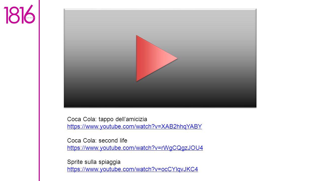 Coca Cola: tappo dell'amicizia https://www.youtube.com/watch?v=XAB2hhqYABY Coca Cola: second life https://www.youtube.com/watch?v=rWgCQgzJOU4 Sprite sulla spiaggia https://www.youtube.com/watch?v=ocCYlqvJKC4 https://www.youtube.com/watch?v=ocCYlqvJKC4