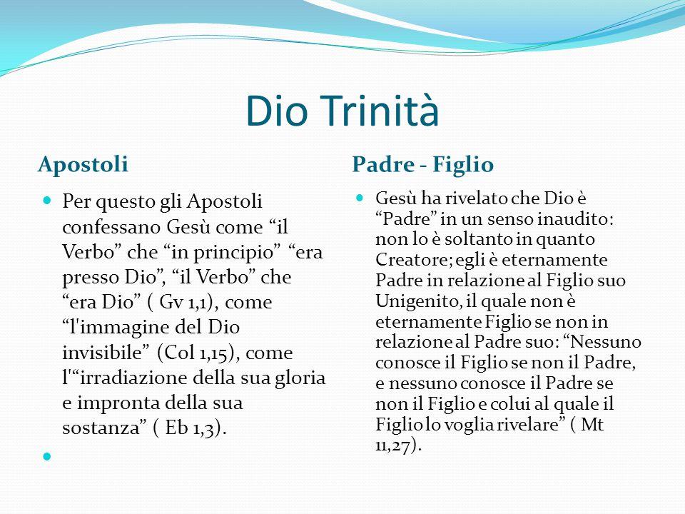 """Dio Trinità Apostoli Padre - Figlio Per questo gli Apostoli confessano Gesù come """"il Verbo"""" che """"in principio"""" """"era presso Dio"""", """"il Verbo"""" che """"era D"""