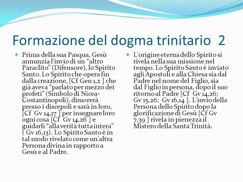 """Formazione del dogma trinitario 2 Prima della sua Pasqua, Gesù annunzia l'invio di un """"altro Paraclito"""" (Difensore), lo Spirito Santo. Lo Spirito che"""