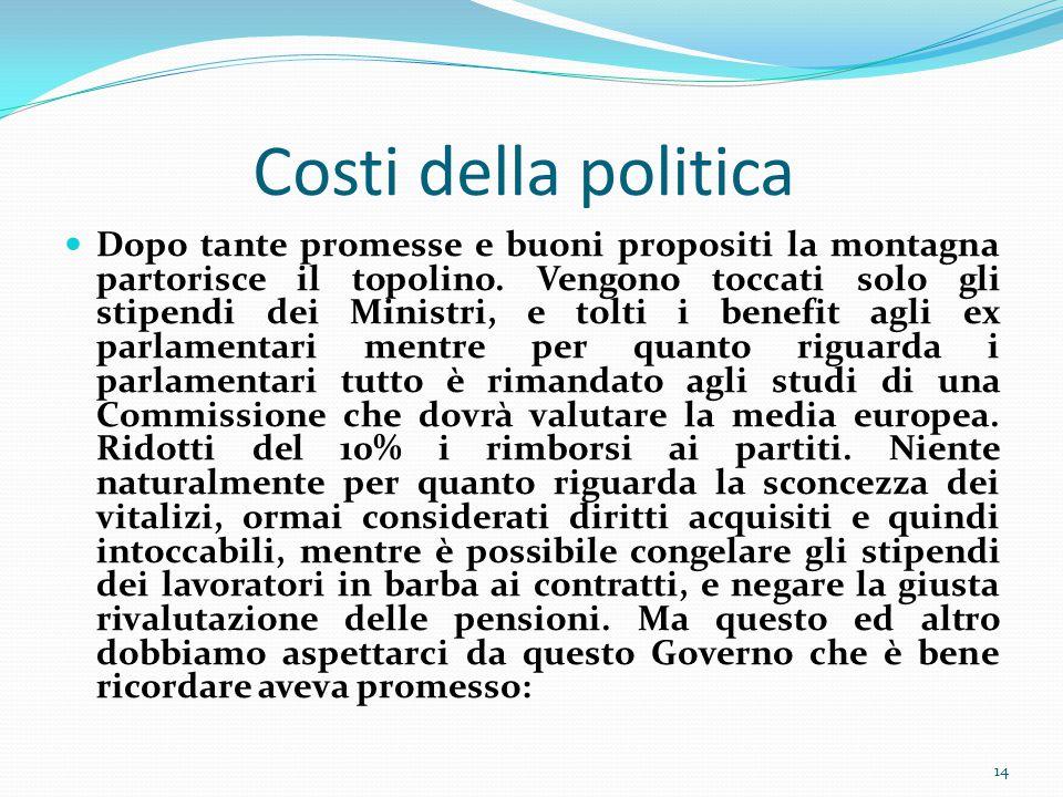 Costi della politica Dopo tante promesse e buoni propositi la montagna partorisce il topolino.