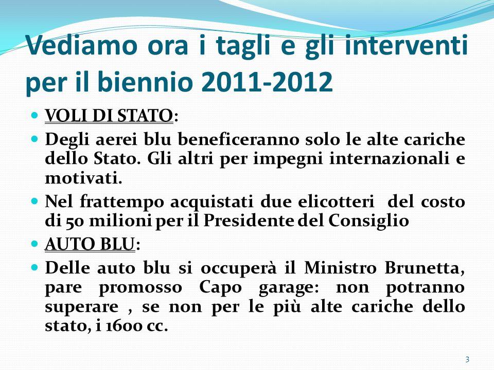 Vediamo ora i tagli e gli interventi per il biennio 2011-2012 VOLI DI STATO: Degli aerei blu beneficeranno solo le alte cariche dello Stato.