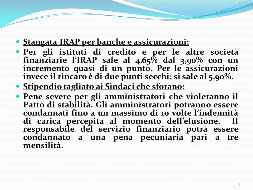 Stangata IRAP per banche e assicurazioni: Per gli istituti di credito e per le altre società finanziarie l'IRAP sale al 4,65% dal 3,90% con un incremento quasi di un punto.