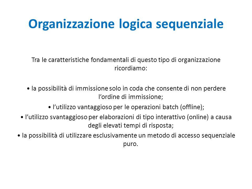 Organizzazione logica sequenziale Tra le caratteristiche fondamentali di questo tipo di organizzazione ricordiamo: la possibilità di immissione solo i