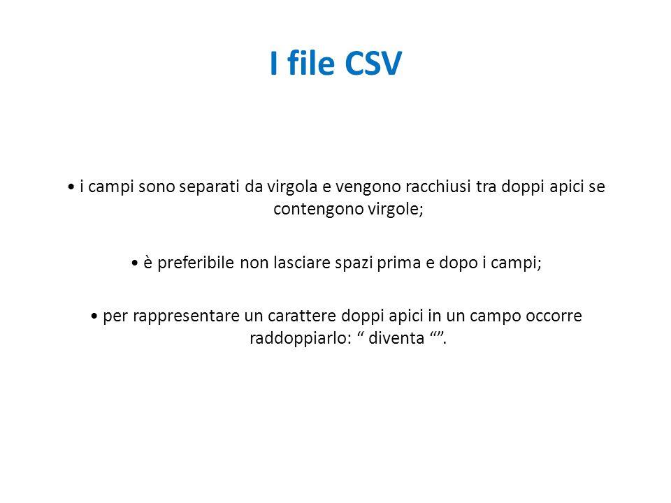 I file CSV i campi sono separati da virgola e vengono racchiusi tra doppi apici se contengono virgole; è preferibile non lasciare spazi prima e dopo i campi; per rappresentare un carattere doppi apici in un campo occorre raddoppiarlo: diventa .