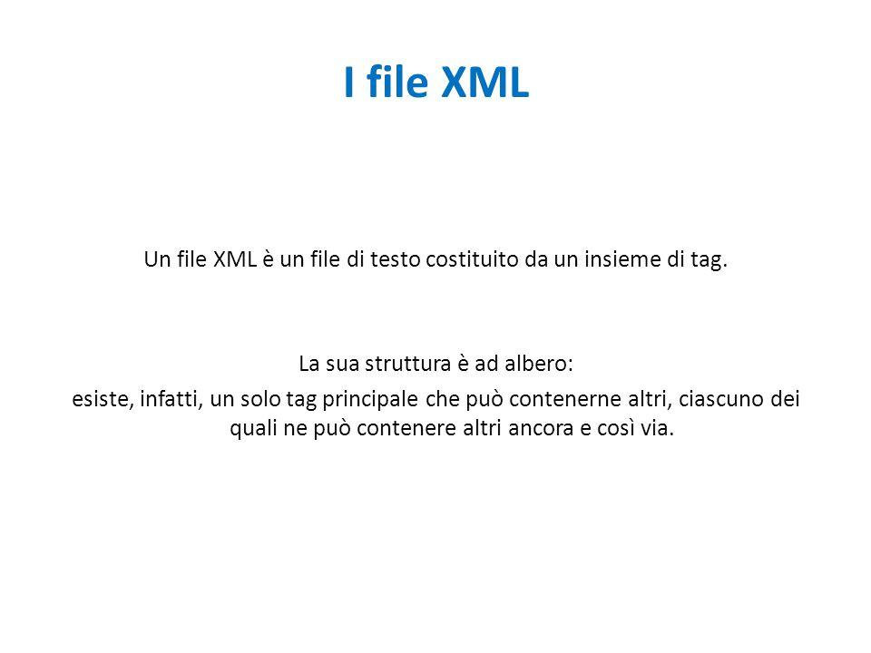I file XML Un file XML è un file di testo costituito da un insieme di tag. La sua struttura è ad albero: esiste, infatti, un solo tag principale che p