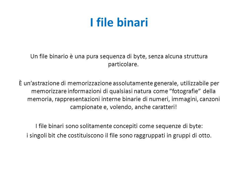 I file binari Un file binario è una pura sequenza di byte, senza alcuna struttura particolare. È un'astrazione di memorizzazione assolutamente general