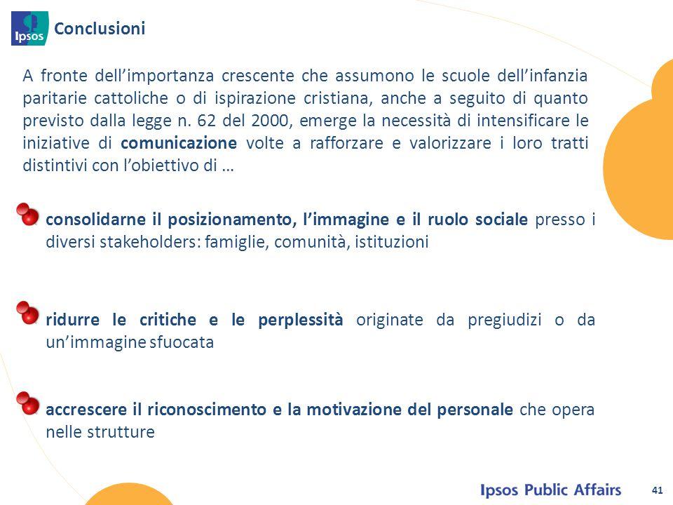 Conclusioni 41 A fronte dell'importanza crescente che assumono le scuole dell'infanzia paritarie cattoliche o di ispirazione cristiana, anche a seguit