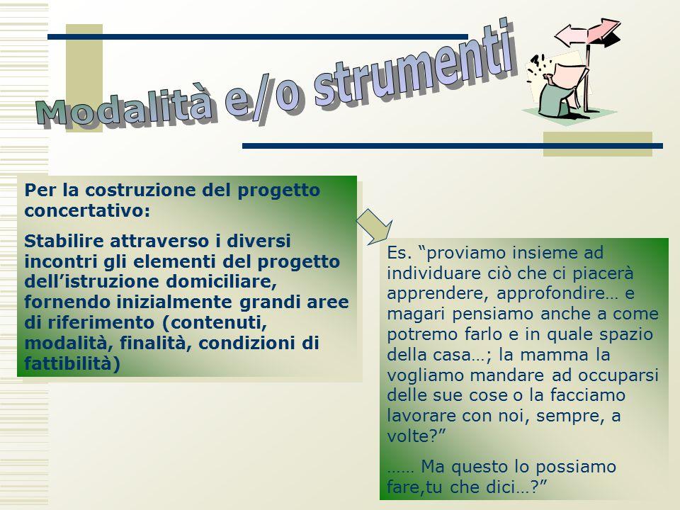 Per la costruzione del progetto concertativo: Stabilire attraverso i diversi incontri gli elementi del progetto dell'istruzione domiciliare, fornendo