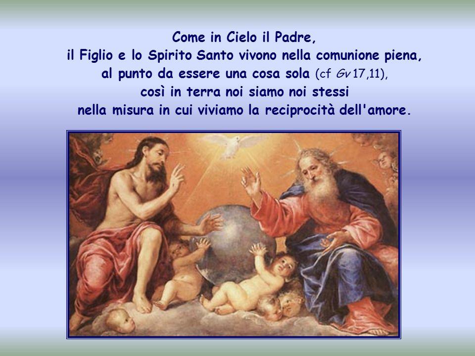 E la legge del Cielo , la vita della Santissima Trinità portata in terra, il cuore del Vangelo.