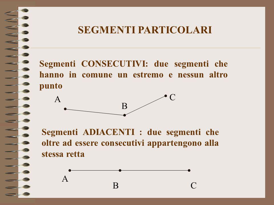 Segmenti CONSECUTIVI: due segmenti che hanno in comune un estremo e nessun altro punto Segmenti ADIACENTI : due segmenti che oltre ad essere consecuti