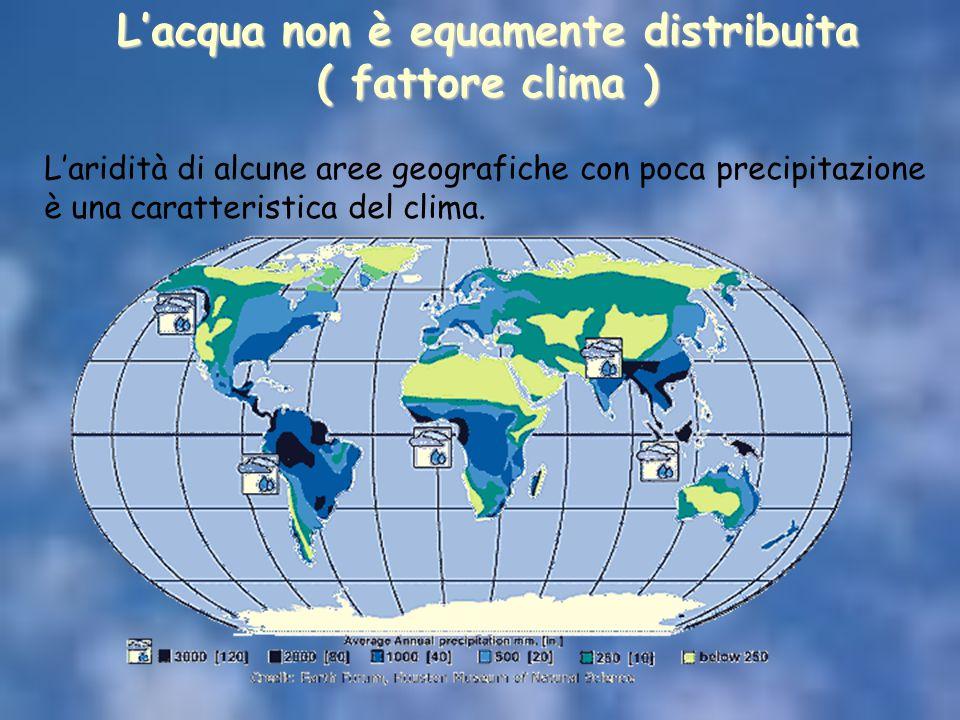 L'acqua non è equamente distribuita ( fattore clima ) L'aridità di alcune aree geografiche con poca precipitazione è una caratteristica del clima.