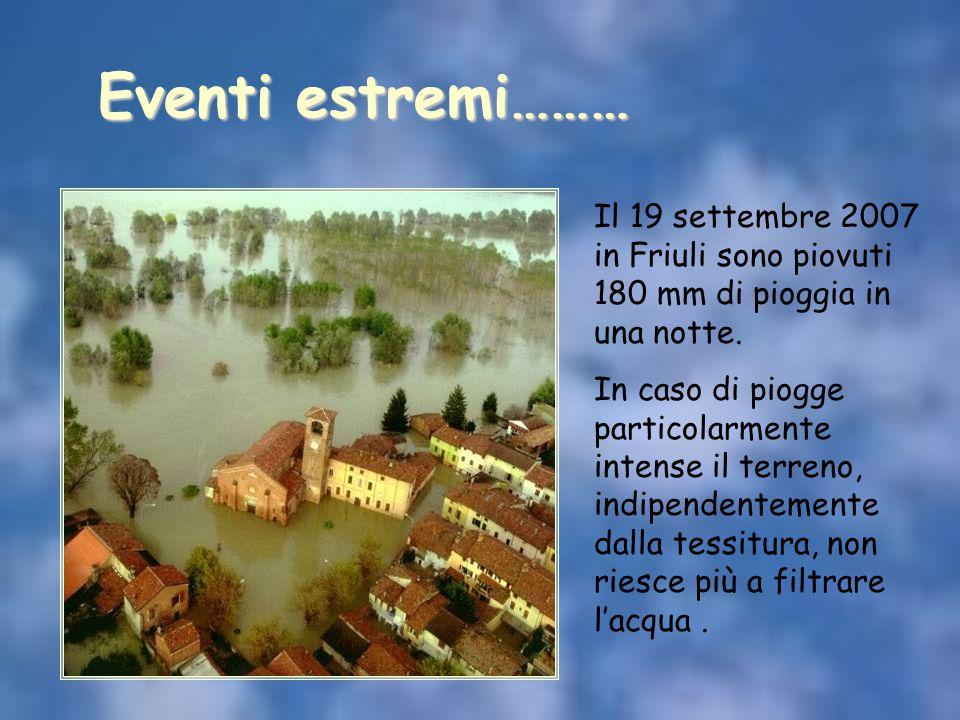 Il 19 settembre 2007 in Friuli sono piovuti 180 mm di pioggia in una notte. In caso di piogge particolarmente intense il terreno, indipendentemente da