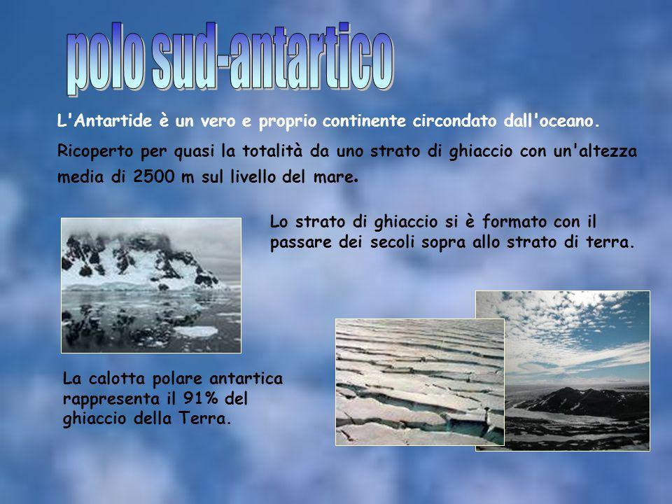 L'Antartide è un vero e proprio continente circondato dall'oceano. Ricoperto per quasi la totalità da uno strato di ghiaccio con un'altezza media di 2