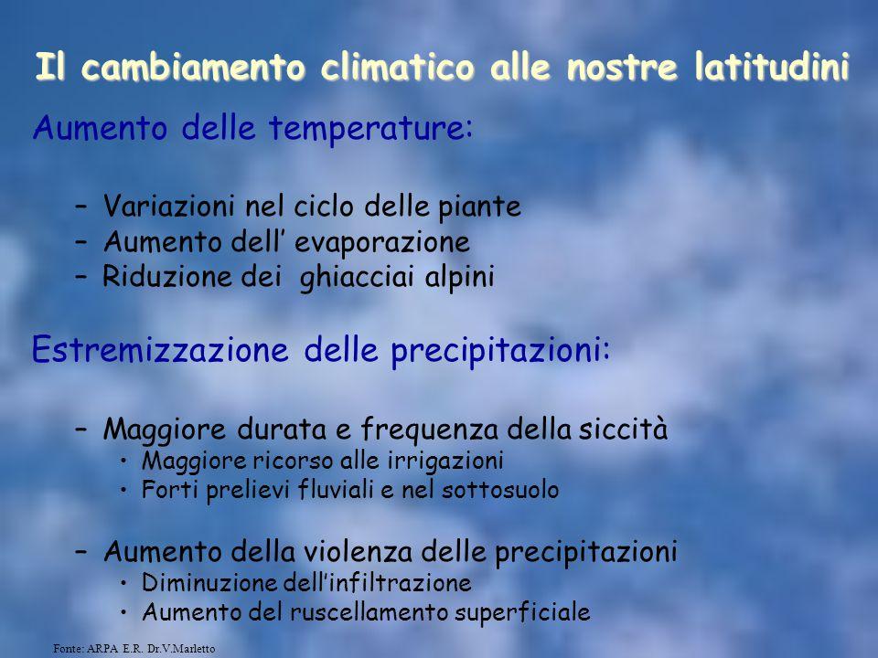 Il cambiamento climatico alle nostre latitudini Aumento delle temperature: –Variazioni nel ciclo delle piante –Aumento dell' evaporazione –Riduzione d