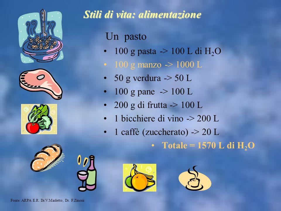 Un pasto 100 g pasta -> 100 L di H 2 O 100 g manzo -> 1000 L 50 g verdura -> 50 L 100 g pane-> 100 L 200 g di frutta -> 100 L 1 bicchiere di vino -> 2