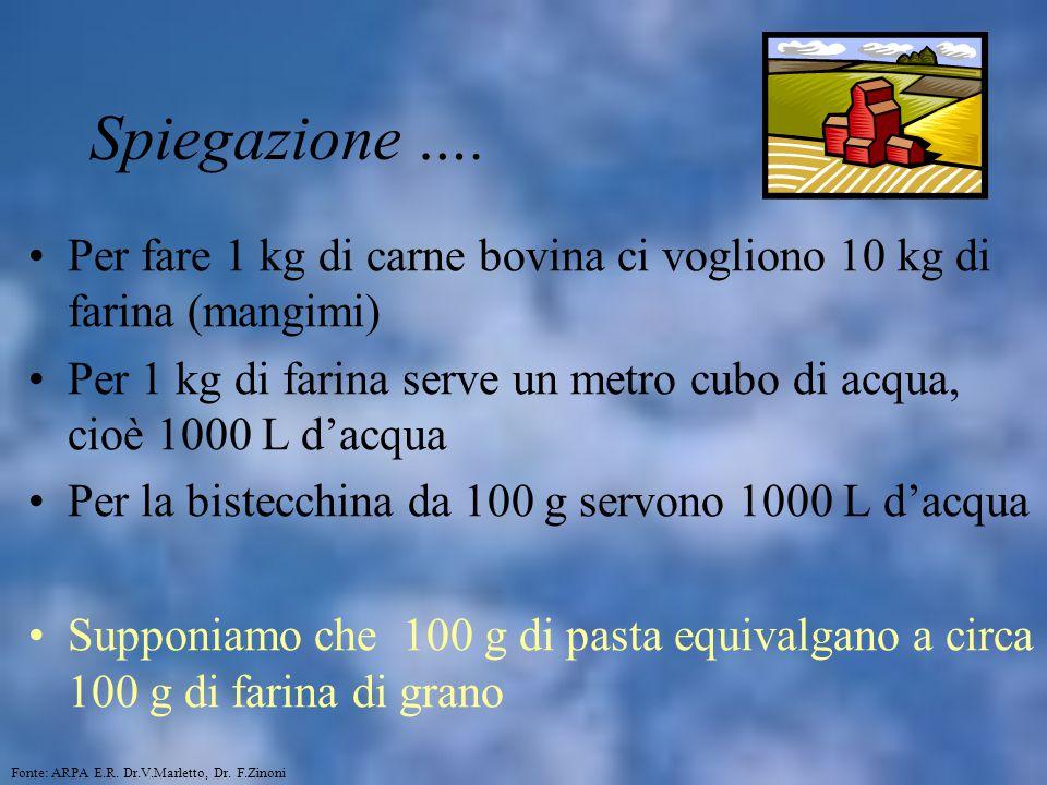 Spiegazione …. Per fare 1 kg di carne bovina ci vogliono 10 kg di farina (mangimi) Per 1 kg di farina serve un metro cubo di acqua, cioè 1000 L d'acqu