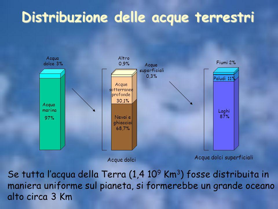 Acqua marina 97% Acqua dolce 3% Acque sotterranee profonde 30,1% Altro 0,9% Nevai e ghiacciai 68,7% Acque superficiali 0,3% Paludi 11% Laghi 87% Fiumi