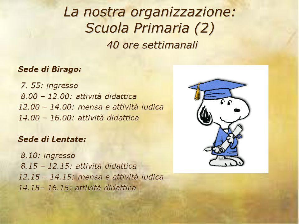 La nostra organizzazione: Scuola Primaria (2) 40 ore settimanali Sede di Birago: 7. 55: ingresso 7. 55: ingresso 8.00 – 12.00: attività didattica 8.00