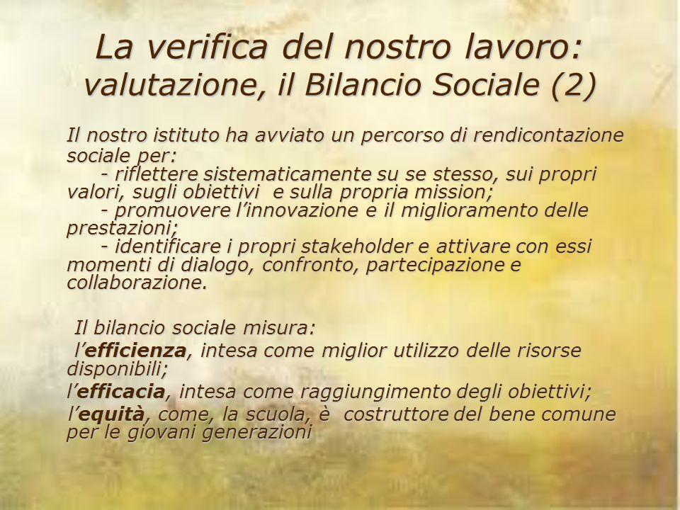 La verifica del nostro lavoro: valutazione, il Bilancio Sociale (2) Il nostro istituto ha avviato un percorso di rendicontazione sociale per: - riflet